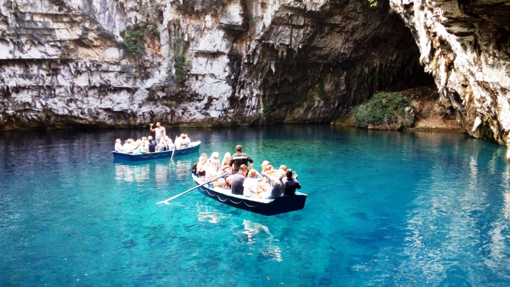 Melissani lake and cave