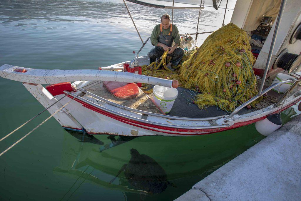 Fischer und Meeresschildkröte in Argostoli