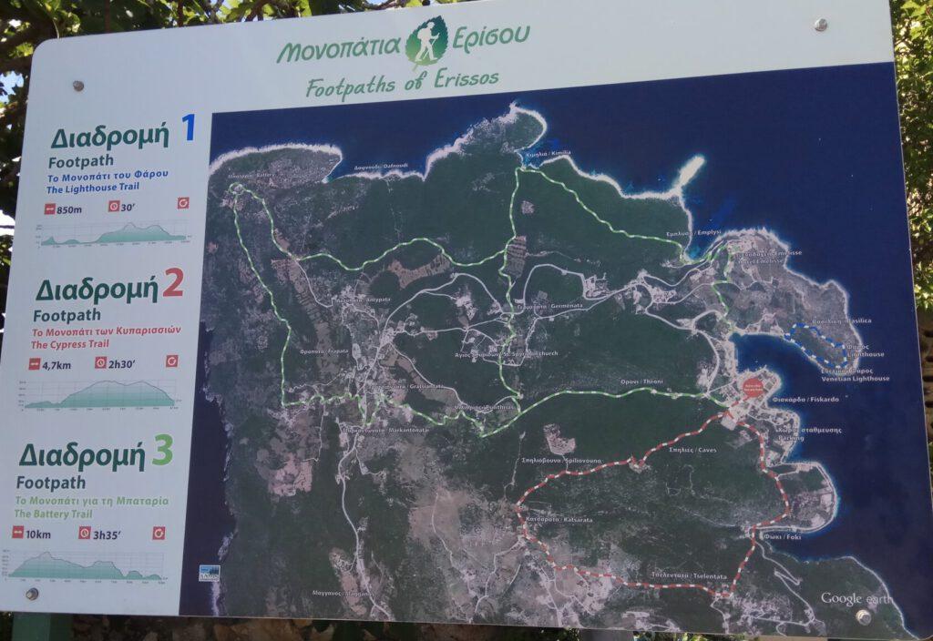 Postsign with map for Fiskardo trails