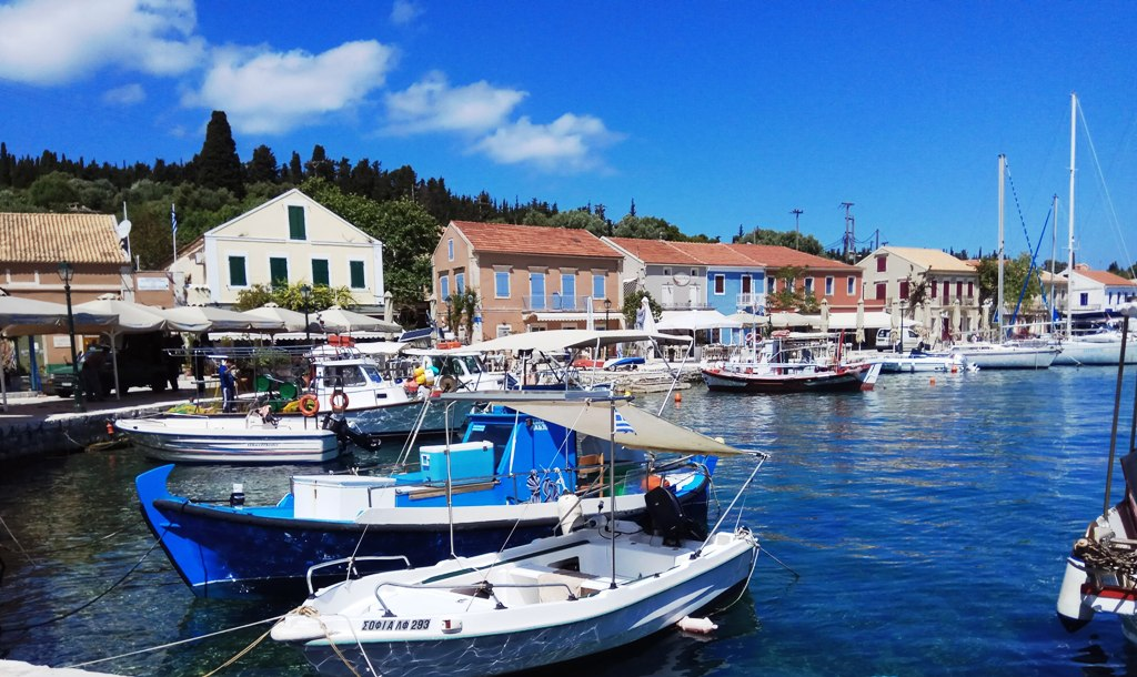 Boats in the harbour of Fiskardo, Kefalonia island
